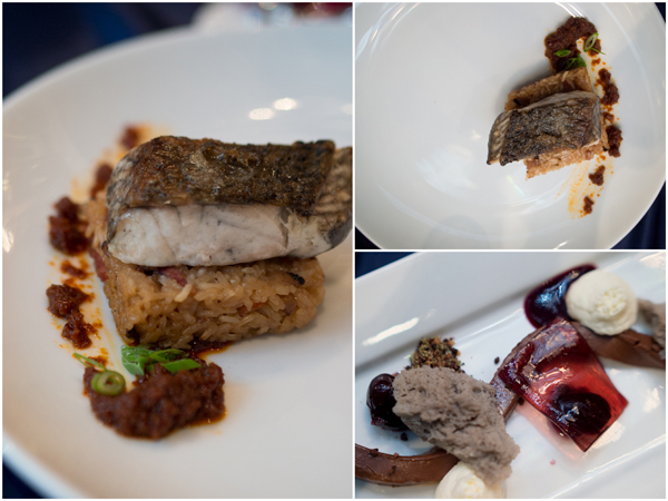 barramundi, smoked muscovy duck glutinous rice; replated black forest gateau