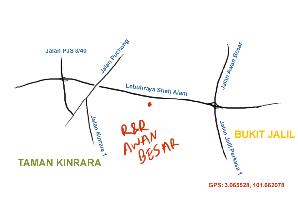 map to R&R Awan Besar