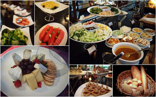 appetizers and desserts on the buffet lines