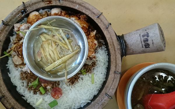 clay pot chicken rice always go well with double boiled soup