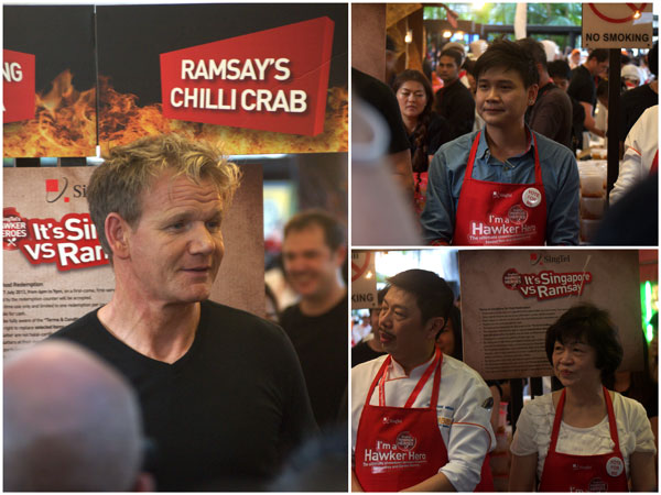 Gordon Ramsay and the hawkers from 328 Katong laksa, Jumbo Seafood, and Tian Tian chicken rice