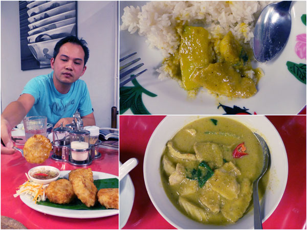 Horng enjoying some fried fish cake, green curry (pork/chicken)
