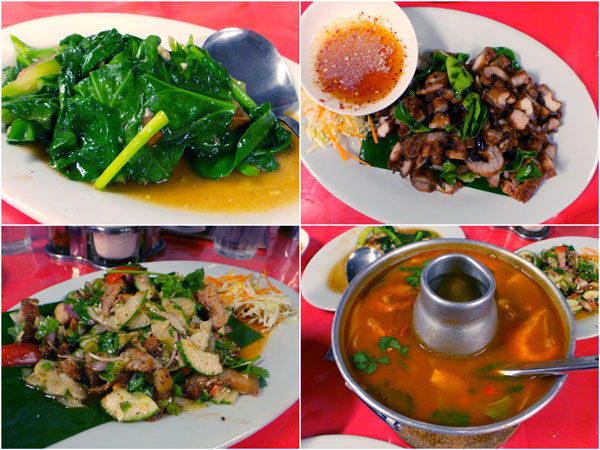 kailan ikan masin, various pork dishes, tomyam