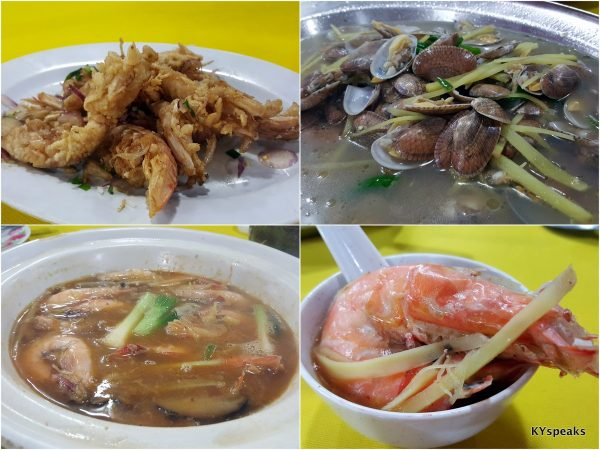 deep fried mantis prawn, lala with superior soup, drunken live prawn