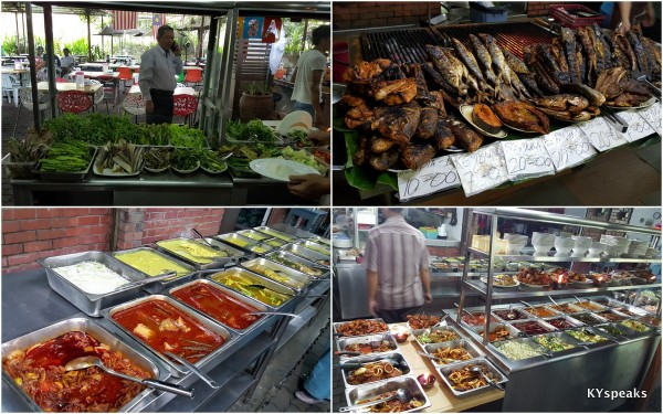 huge selection of ulam, ikan bakar, and other lauk