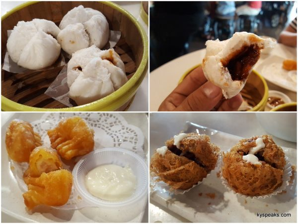 char siu bao, golden shrimp salad, deep fried yam puff