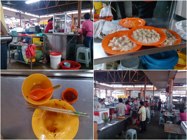 the wantan mee stall at Ayer Panas wet market