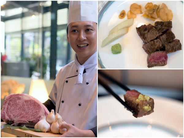 teppanyaki styled Miyazaki A5 wagyu beef