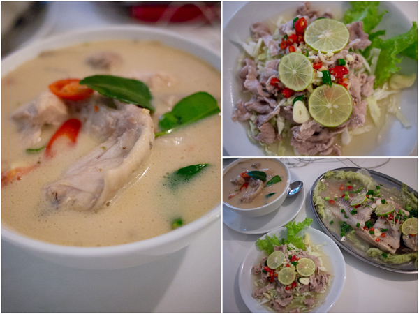 Tom Ka Kai (coconut milk tomyam chicken), Moo Ma Naw (spicy pork salad)
