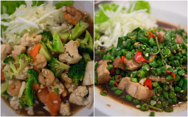 Phad Phak Ruam (stir fry assorted vege), Phad Kra Pao (roast pork with holy basil & long bean)
