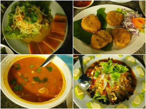 smoked salmon salad, fish cake, tomyam, raw prawn salad