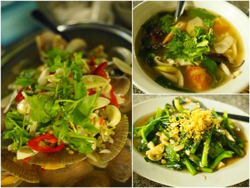 Thai style lala, clear soup tomyam, kai lan ikan masin