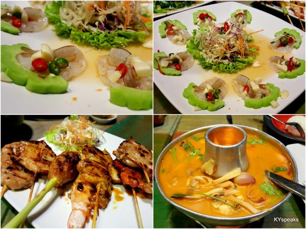 raw prawn salad, moo ping (pork skewer), classic tomyam