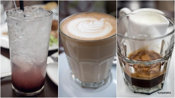 raspberry lychee soda, latte, espresso & milk