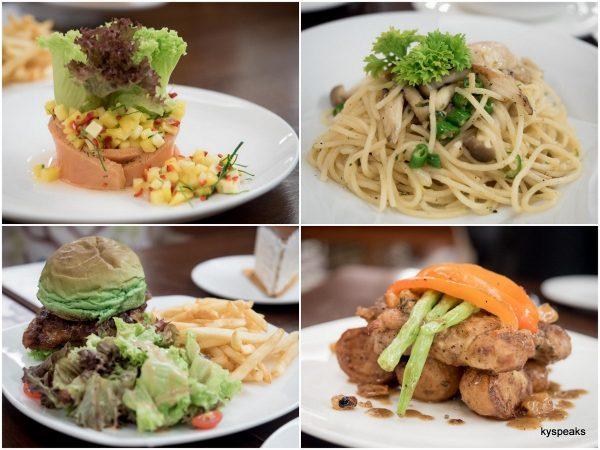 salmon salad, spicy mushroom spaghetti, Tokyo burger, pan seared chicken