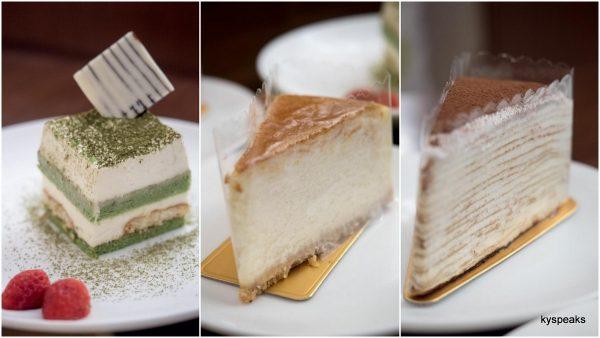 matcha mitsu, Japanese cheese cake, tiramisu crepe