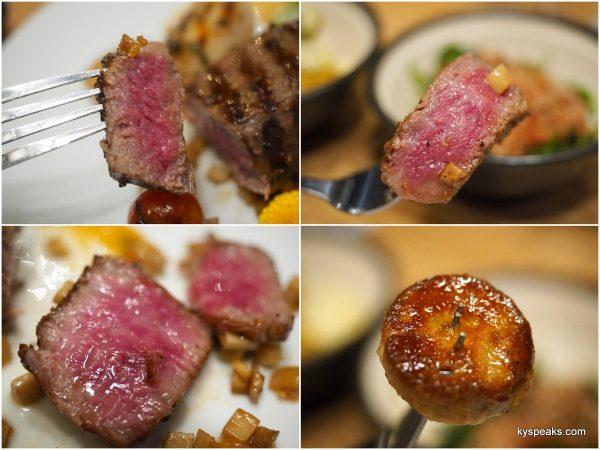 kobe sirloin A3, kobe zabutan A5, matsusaka, pan seared foie gras