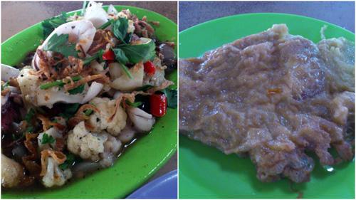 sotong halia and telur dadar