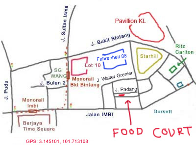 map to Medan Selera behind Fahrenheit 88