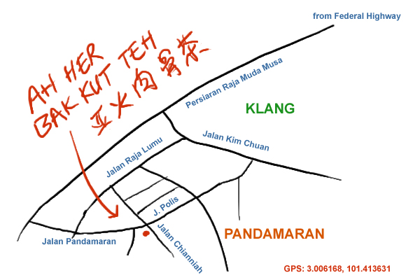 map to Ah Her bak kut teh, Klang
