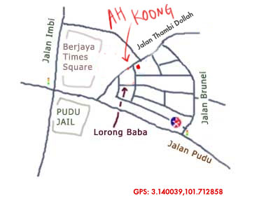 map to Ah Koong Eating Place