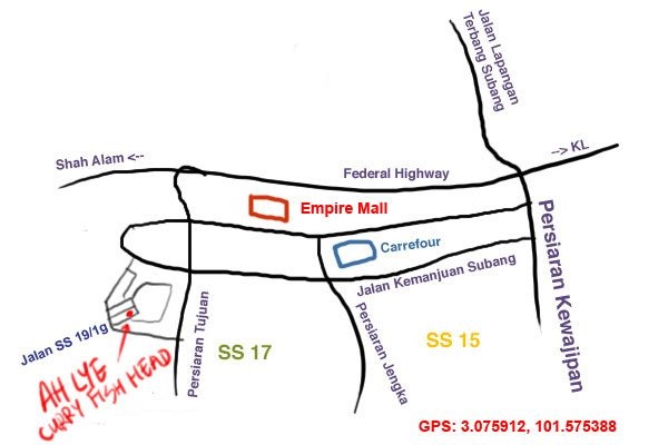 map to Ah Lye curry fish head, Subang Jaya