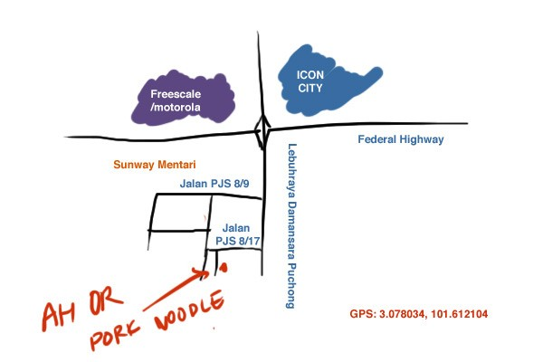 map to Ah Or pork noodle at Sunway Mentari