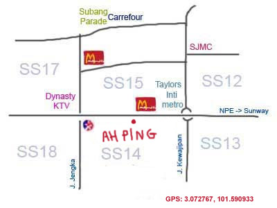 map to Ah Ping bak kut teh at Subang Jaya