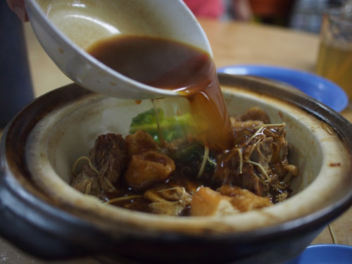 thick and fragrant herbal soup is essential in bak kut teh