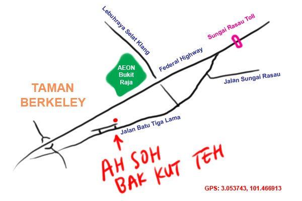 map to Ah Soh Bak Kut Teh, jalan batu tiga lama