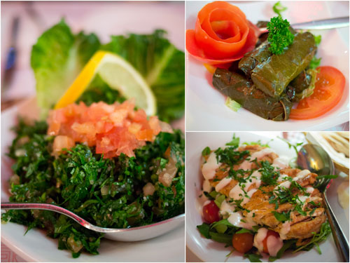 tabbouleh, warak enab, grilled chicken salad