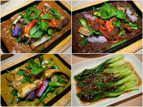 ikan pari, grilled lamb, and grilled chicken in different sambal, vegetable too