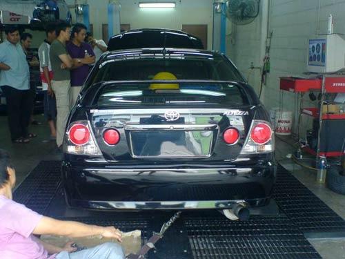 Black Toyota Altezza on Dyno