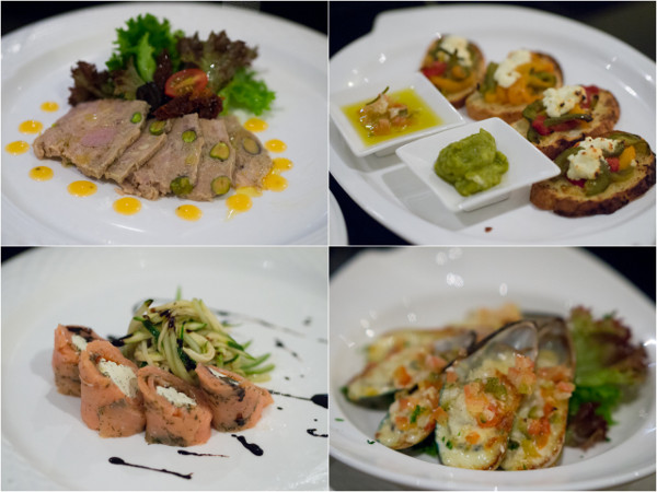 Spring River's Duck Terrine, Ahmed's Mediterranean Bruschetta, Gustav's Cured Norwegian Salmon, Fresh Mussel Rockafella