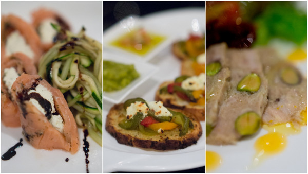 Gustav's Cured Norwegian Salmon, Ahmed's Mediterranean Bruschetta, Spring River's Duck Terrine