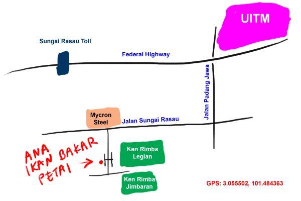 map to Shah Alam Ana Ikan Bakar Petai