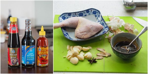 Bidor Kwong Heng's sauces with ingredients for soya chicken
