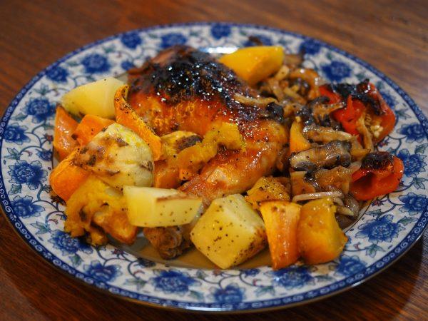 roast chicken with sriracha hot chili sauce & sides