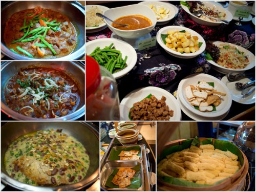 lamb, beef curry, salad/rojak bar, roti jala, roti canai