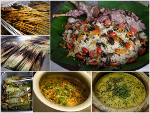 satey, otak-otak, ikan bakar, roast lamb, nasi briyani, gulai with paku