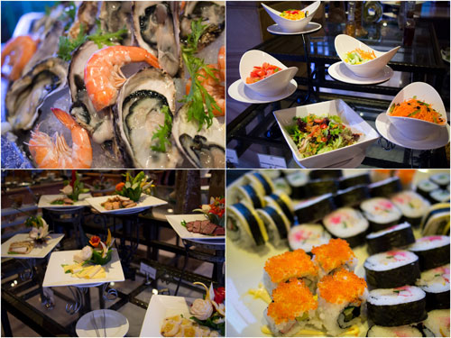 the usual buffet spread - fresh oysters and prawns among the dishes