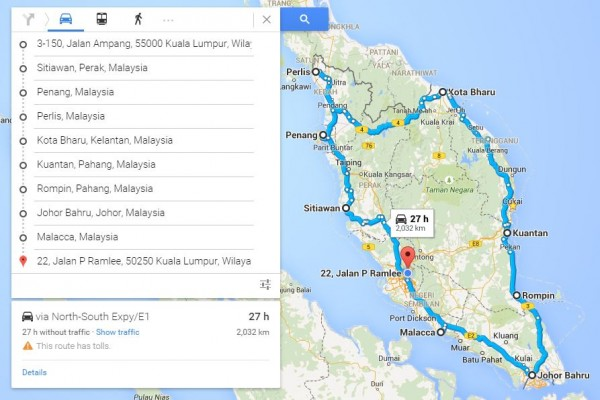 travel around peninsular Malaysia