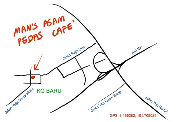 map to Man's Cafe asam pedas at Kampung Baru