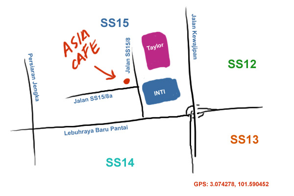 map of Asia Cafe at Subang Jaya SS15