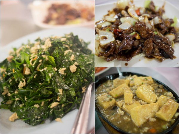 Sabah vegetable, ostrich meat, tofu in hotplate