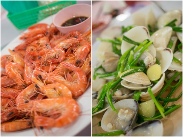 fresh prawns and clams