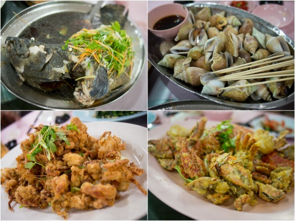 steamed garoupa, more clams, soft shell crab, mud crab
