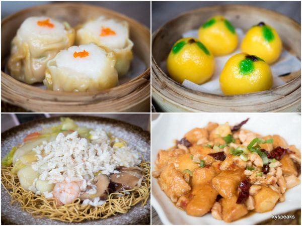scallop dumpling, golden kamquat dumpling, lucky 88 noodle, szechuan tofu