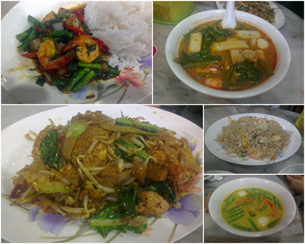 long bean with seafood, tomyam soup, pad see yew, pineapple fried rice, green curry