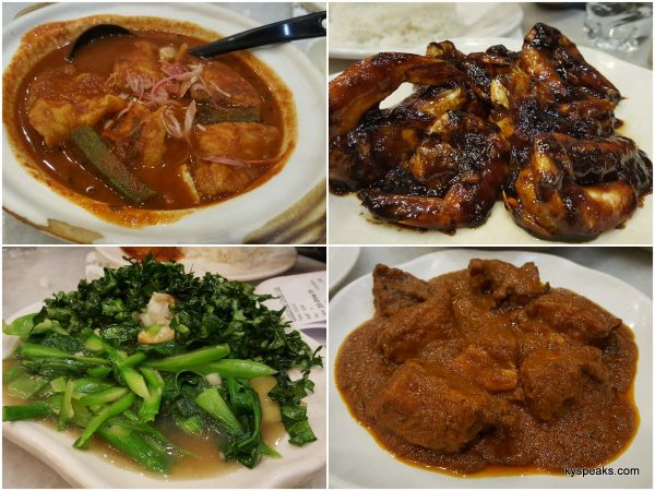 asam pedas fish, asam prawn, two style kailan, rendang chicken